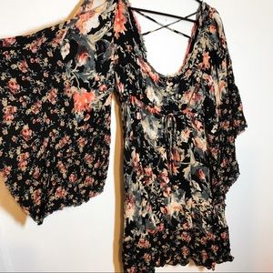 Free People Floral Babydoll Bell Sleeve Dress S